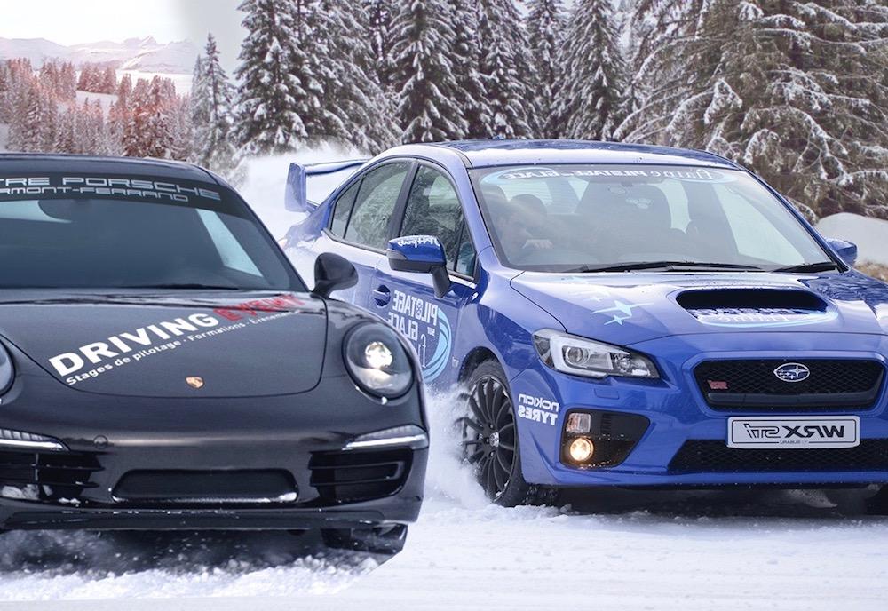 Stage de pilotage sur glace en Porsche et Subaru